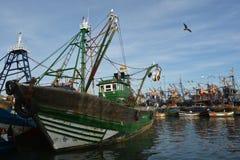 Gamla skepp, port av Essaouira, Marocko Royaltyfri Fotografi