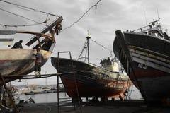 Gamla skepp, port av Essaouira, Marocko Arkivbild