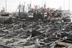 Gamla skepp, port av Essaouira, Marocko Royaltyfri Bild
