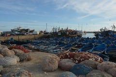 Gamla skepp, port av Essaouira, Marocko Royaltyfri Foto