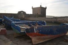Gamla skepp, port av Essaouira, Marocko Arkivfoto