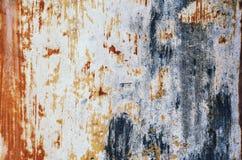Gamla, skrapade forntida blått, metalltextur arkivbild