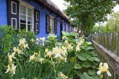Gamla sommarhus och blommor i Lowicz, Polen Royaltyfri Bild