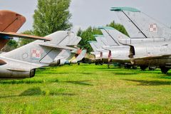 Gamla sovjetiska kämpenivåer MIG Royaltyfria Bilder