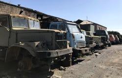 Gamla sovjetmaskiner & metalldelar Arkivfoton