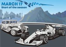 Gamla springa bilar och modern bil f1 också vektor för coreldrawillustration stock illustrationer