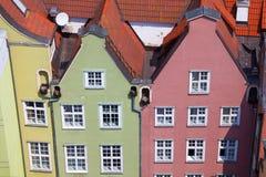 Gamla stadbyggnader i mitten av Gdansk Polen Fotografering för Bildbyråer