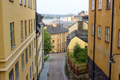 Gamla stan. Small street in Stockholm in an old city( gamla stan). Sweden Stock Image