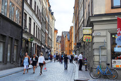 Gamla Stan. Central street of Gamla Stan with many tourists. Sweden Royalty Free Stock Photography