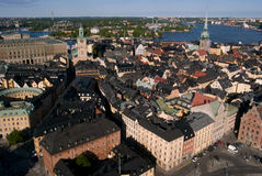 Gamla Stan. Aerial view over the Old City in Stockholm, Sweden Royalty Free Stock Photos