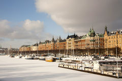 Gamla Stan. View of Gamla Stan (old town) from across the frozen harbor Stock Photos
