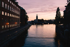 Gamla Stan canal. Canal at Gamla Stan at night, in Stockholm, Sweden Stock Photos