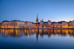 Gamla Stan at dawn. View over buildings in the Old Town (Gamla Stan) in Stockholm, Sweden at dawn Royalty Free Stock Images