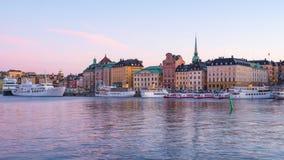 Gamla Stan gammal stad i den Stockholm staden, Sverige dag till natttimelapse 4K stock video