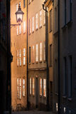 Gamla stan gata i Stockholm, Sverige Arkivbild
