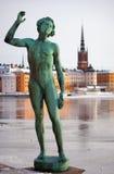Gamla stan met standbeeld Royalty-vrije Stock Afbeelding