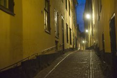 Gamla Stan at night Stock Images