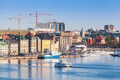 Gamla Stan and Norrmalm, Stockholm. Stockholm, Sweden - May 4, 2016: Stockholm city landscape with Gamla Stan and Norrmalm districts stock image