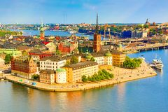 Gamla Stan, the old part of Stockholm in a sunny summer day, Sweden. Aerial view from Stockholm City hall Stadshuset. royalty free stock images
