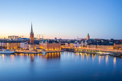 The Gamla Stan old town at night in Stockholm city, Sweden Stock Photos