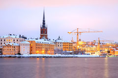 Gamla Stan Old Town Stockholm city at dusk Sweden Stock Photos
