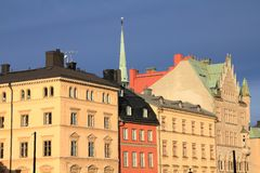 Gamla Stan. Old town of Stockholm, Sweden in sunset light. Munkbron square Royalty Free Stock Image