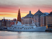 Gamla stan in Stockholm in Christmas time. Royalty Free Stock Photography