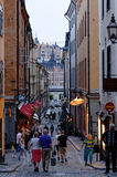 Gamla Stan, Stockholm. People walking at dusk on the cobbled streets of Gamla Stan, the old city of Stockholm Stock Photography