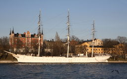 Gamla Stan Stockholm Ship. A historic ship and old buildings in Gamla Stan, Stockholm, Sweden Royalty Free Stock Photo