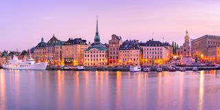 Gamla Stan in Stockholm, Sweden. Scenic panoramic view of Gamla Stan, in the Old Town in Stockholm during morning blue hour, capital of Sweden royalty free stock images