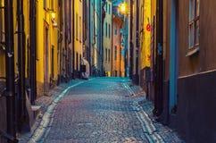 Gamla stan street at night Stock Photo