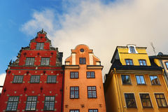 Gamla Stan. Three houses in Gamla Stan, Old Town of Stockholm in Sweden Royalty Free Stock Photography