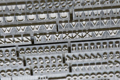 Gamla tappningbokstäver för abc Arkivfoto