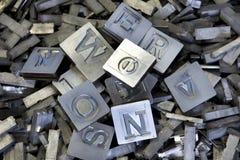 Gamla tappningbokstäver för abc Arkivbild