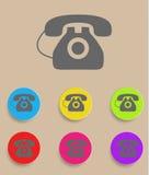 Gamla telefonsymboler för vektor med färgvariationer Arkivbilder
