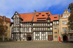 Gamla timrade hus i Braunschweig Royaltyfri Bild