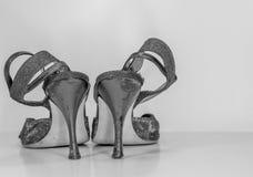 Gamla totalt slitna skor för utbildningskvinnatango - ut royaltyfri bild