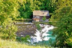 Gamla trä maler på den Slunjcica floden Royaltyfri Fotografi