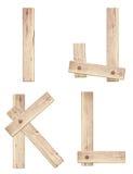 Gamla träalfabetbokstäver som göras av wood plankor Arkivfoto