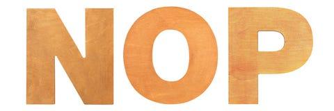 Gamla träbokstäver NOP Arkivfoton