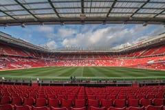 Gamla Trafford är hemmet av Manchester Unitedfotbollklubban arkivbilder