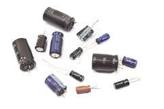 Gamla transistorer för televisiondelar Arkivbilder