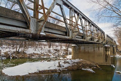 Gamla trefaldiga Pony Truss Bridge Arkivbild