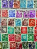 Gamla tyska portostämplar Arkivfoton