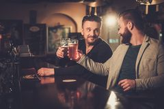 Gamla vänner som dricker utkastöl på stångräknaren i bar arkivfoton