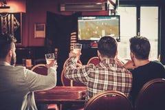 Gamla vänner som har gyckel som håller ögonen på en fotbolllek på TV och dricker utkastöl på stångräknaren i bar royaltyfri fotografi