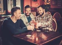 Gamla vänner som har roligt och dricker utkastöl i bar fotografering för bildbyråer