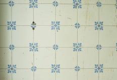 Gamla vita keramiska tegelplattor på väggen Royaltyfria Bilder