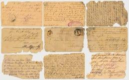 Gamla vykort med calligraphic handskrift Arkivbild