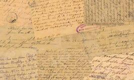 Gamla vykort med calligraphic handskrift Arkivfoton